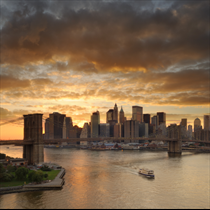 Vista al tramonto di Manhattan