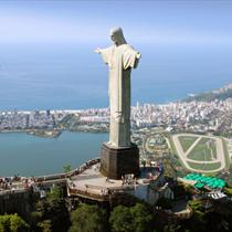Vista aera del Cristo Redentore e Rio de Janeiro