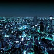 Panorama di grattacieli illuminati