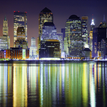 Skyline di New York con riflessi