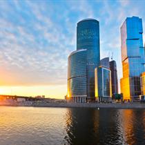 Grattacieli al tramonto a Mosca