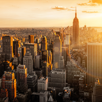 Panorama di New York al tramonto