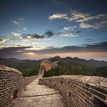 Muraglia cinese al tramonto