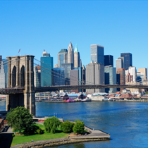 Skyline di New York e Brooklyn Bridge