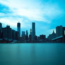 Panorama di New York e della statua della libertà