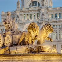Dettaglio della fontana in Plaza de Cibeles