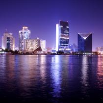 Grattacieli a Dubai di notte