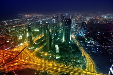 Panorama notturno a Dubai