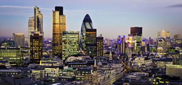 Distretto finanziario di Londra al cepuscolo