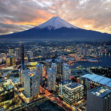 Vista su Yokohama e il Monte Fuji