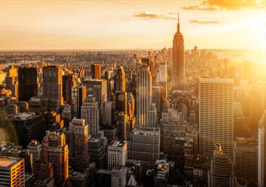 Panorama di New York al tramonto