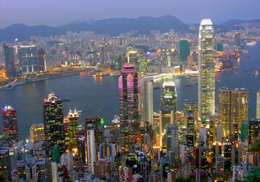 Grattacieli illuminati a Hong Kong