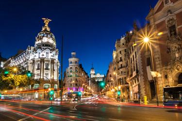 Gran Via a Madrid di notte